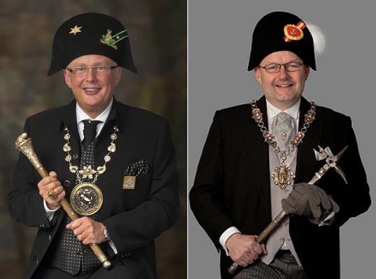 Werner Rast, Zunftmeister der Wey-Zunft Luzern (links) und Kari Bucher, Zunftmeister der Zunft zu Safran